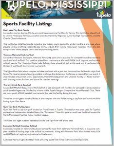 tupelo sports facilities guide cover