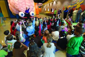 children learning about the brain at HealthWorks